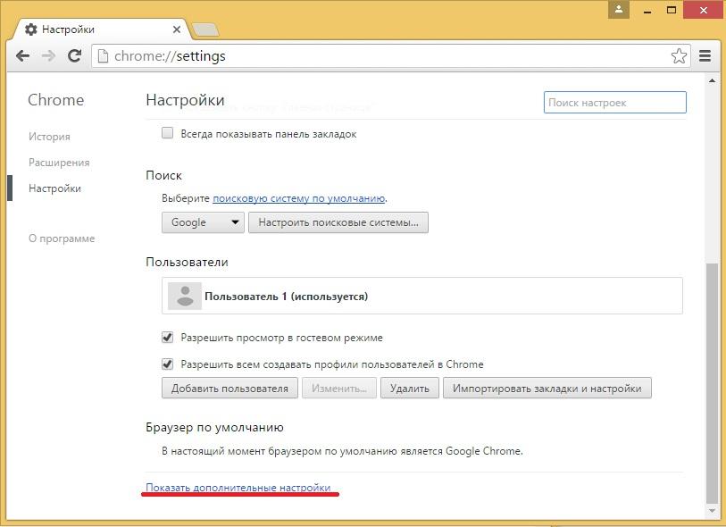 Дополнительные параметр в Гугл Хроме