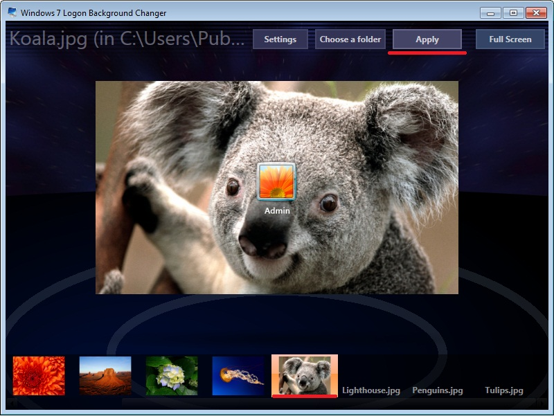 программа для смены экрана приветствия Windows 7 Logon Background Changer