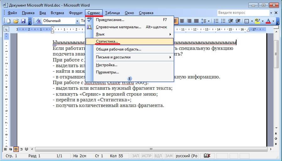 Как посчитать количество знаков в Microsoft Office Word 2003