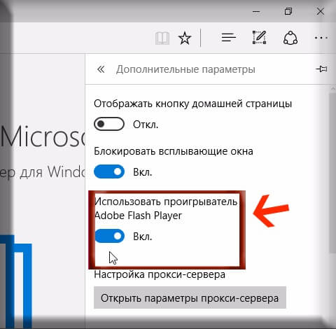 Как включить Flash Player в браузере Microsoft Edge