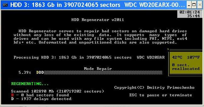 Программа для ремонта жесткого диска HDD Regenerator