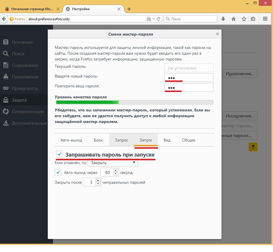 Установка пароля на браузер