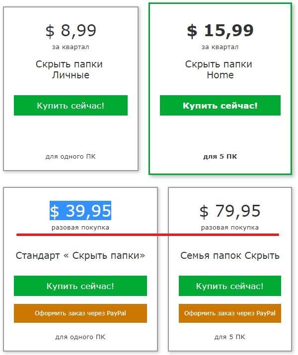 Стоимость Hide Folders