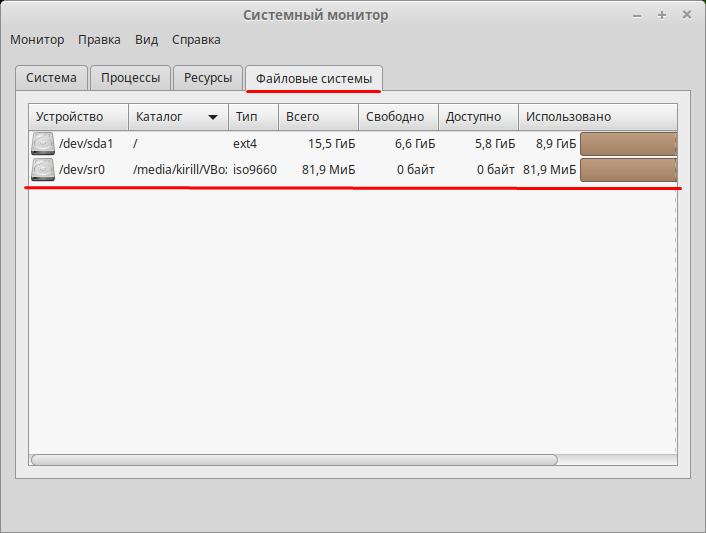 Информация о файловой системе Linux Mint